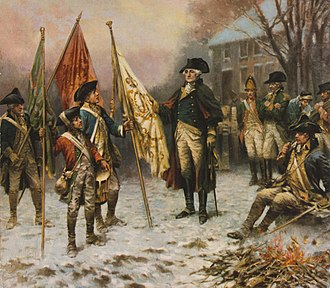 The Capture of the Hessians at Trenton, December 26, 1776 - Image: Percy Moran, Washington inspecting the captured colors after the battle of Trenton cph.3g 11107
