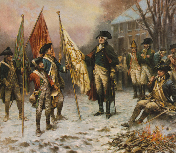 File:Percy Moran, Washington inspecting the captured colors after the battle of Trenton cph.3g11107.jpg