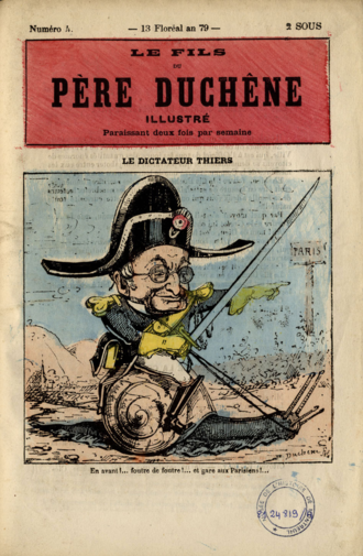 French Left - Adolphe Thiers charging on the Communards, in Le Père Duchênes illustré magazine.
