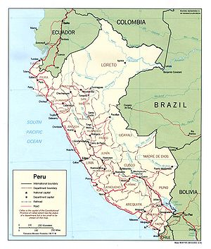 Geography of Peru - Political map of Peru
