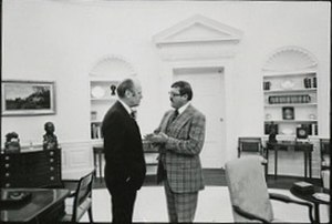 Peter F. Secchia - Secchia visits with Gerald Ford in the Oval Office in 1975.