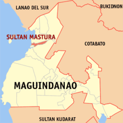 Map of Maguindanao showing the location of Sultan Mastura