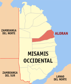 Mapa ti Misamis Occidental a mangipakita ti lokasion ti Aloran, Misamis Occidental.