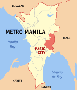 Map of Metro Manila showing the location of Pasig