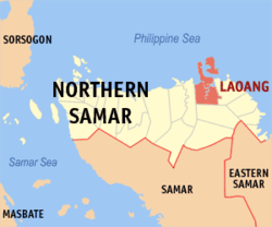 Map of Northern Samar showing the location of Laoang