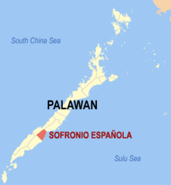 Map of Palawan with Sofronio Española highlighted