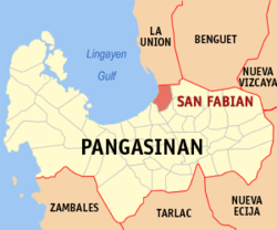 Map of Pangasinan showing the location of San Fabian