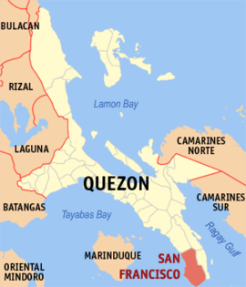 Map of Quezon showing the location of San Francisco