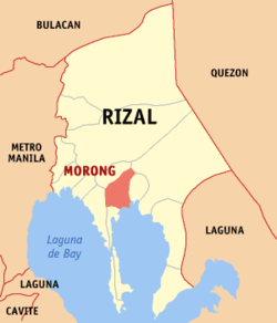 Map of Rizal showing the location of Morong