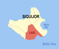Map of Siquijor with Lazi highlighted