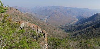 Pongola River - The Pongola River winding through hills in and beyond the Ithala Game Reserve