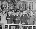 Photograph of President Truman and Brazilian President Eurico Dutra standing at attention with other dignitaries... - NARA - 200121.tif