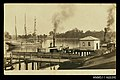 Photographic postcard of the wharf at Clarence River, Grafton, with a three masted barquentine and ferries (8385548124).jpg