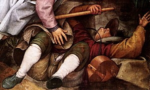 The Blind Leading the Blind - Bruegel demonstrates mastery of foreshortening in depicting the leader of the blind men.