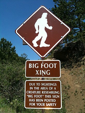 Bigfoot - A tongue-in-cheek sign warning of Bigfoot crossings on Pikes Peak Highway in Colorado