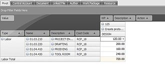 Basis of estimate - A pivot table in BOEMax, a Basis of Estimate software package.