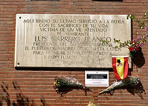 ETA (separatist group) - Memorial plate at the place of the assassination of Admiral Luis Carrero Blanco