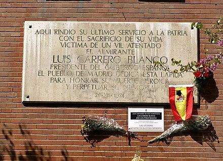 Insegna alla memoria dell 39 ammiraglio luis carrero blanco for Piani di coperta del cortile