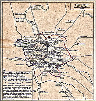 Leonine City - Plan of Rome in the Middle Ages, showing Aurelian's Wall (Red) and the Walls of Pope Leo IV (Blue) and Urban VIII (Purple)