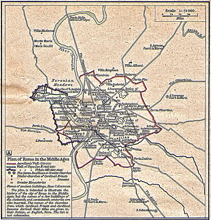 A plan of Rome in the Middle Ages. The Leonine City is visible in the upper left section. Plan of Rome in the Middle Ages - Historical Atlas by William R. Shepherd, 1923.jpg