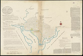 Washington City Canal - Boston Public Library Facsimile of manuscript of Peter Charles L'Enfant's 1791 plan for the federal capital city (U.S. Coast and Geodetic Survey, 1887).