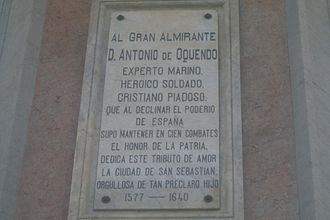 Antonio de Oquendo - Plaque on base of statue