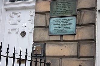 Matthías Jochumsson - Plaque to Matthias Jochumsson, 15 London Street, Edinburgh