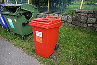Plastic bin for drink papers in Horní Suchá, Liberec, Liberec District.jpg