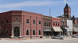The Plattsmouth Main Street Historic District is listed in the National Register of Historic Places.[1]  At upper right is the clock tower of the Cass County Courthouse.