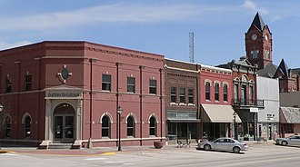 Plattsmouth, Nebraska - The Plattsmouth Main Street Historic District is listed in the National Register of Historic Places.  At upper right is the clock tower of the Cass County Courthouse.