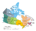 Labelled map of Canada detailing its provinces and territories