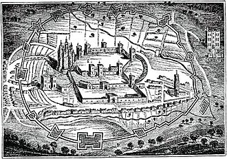 Second English Civil War - Pontefract Castle in 1648, with civil war fortifications surrounding the old medieval ones.