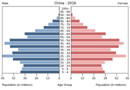 Population pyramid of China 2016