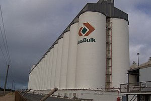 Silo - Grain elevators are composed of groups of grain silos such as these at Port Giles, South Australia.