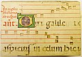 Portion of a parchment leaf from a liturgical ms., probably an antiphonary, containing text and music for the first words of the antiphon for the first psalm sung at vespers on the vigil of the solemnity of the Ascension (6695330439).jpg
