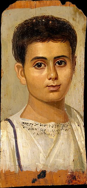 Greeks in Egypt - 2nd-century Fayum mummy portrait of a boy, identified by inscription as Eutyches, Metropolitan Museum of Art.