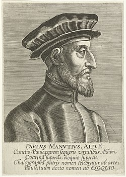 Portret van Paolo Manuzio Pavlvs Manvtivs, Ald. F. (titel op object) Portretten van beroemde geleerden (serietitel) Imagines L. Doctorum Virorum (serietitel), RP-P-1909-1070.jpg