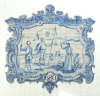 Banda Oriental - Tile panel depicting the foundation of Colonia del Sacramento in 1680