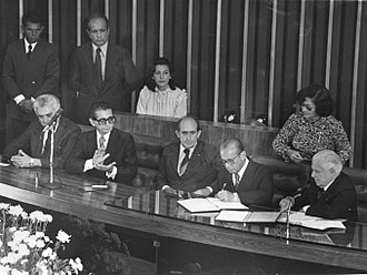 João Figueiredo - Figueiredo signs official documents during his inauguration ceremony in the National Congress, March 15, 1979