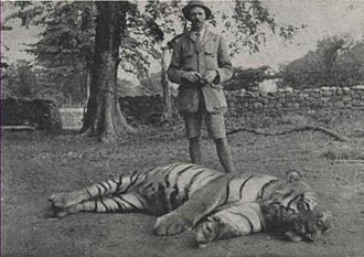 Jim Corbett - Jim Corbett with the slain Bachelor of Powalgarh.