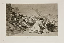 In the distance the town, people fleeing on horseback and by foot. A woman holding one child in her arm reaches for another who has fallen to the ground; as an army approaches.