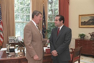 Antonin Scalia - President Reagan and his Supreme Court nominee Scalia in the Oval Office, July 7, 1986