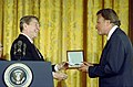 President Ronald Reagan presenting the Presidential Medal of Freedom to Billy Graham in the East Room.jpg
