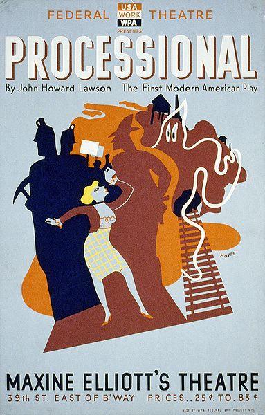 Color Silkscreen Poster By American Illustrator Richard Halls 1906 1976 For Federal Theatre Project Presentation Of Processional The First Modern