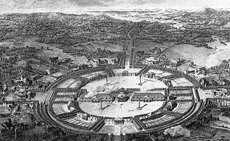 Royal Saltworks at Arc-et-Senans - Aerial view of the proposed city at the Royal Saltworks at Arc-et-Senans by Claude Nicolas Ledoux, published in 1804