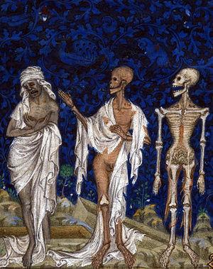 Jean Le Noir (illuminator) - Jean le Noir, Psalter of Bonne de Luxembourg (c. 1348 – 1349, New York, The Cloisters, Inv. 69. 86.), The Three Living and the Three Dead, folio 322r