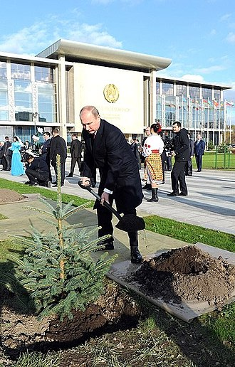 Independence Palace, Minsk - Vladimir Putin at the Avenue of Honoured Guests.