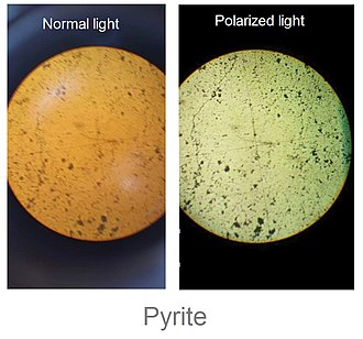 Pyrite - Pyrite under normal and polarized light