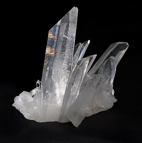 Quartz is one of the several crystalline forms of silica, SiO2. The most important forms of silica include: a-quartz, b-quartz, tridymite, cristobalite, coesite, and stishovite. Quartz, Tibet.jpg
