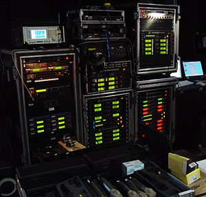 Wireless microphone - Wireless microphone receiver racks backstage at a large televised music awards event